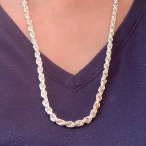 Beautiful Sterling Silver Rope Necklace